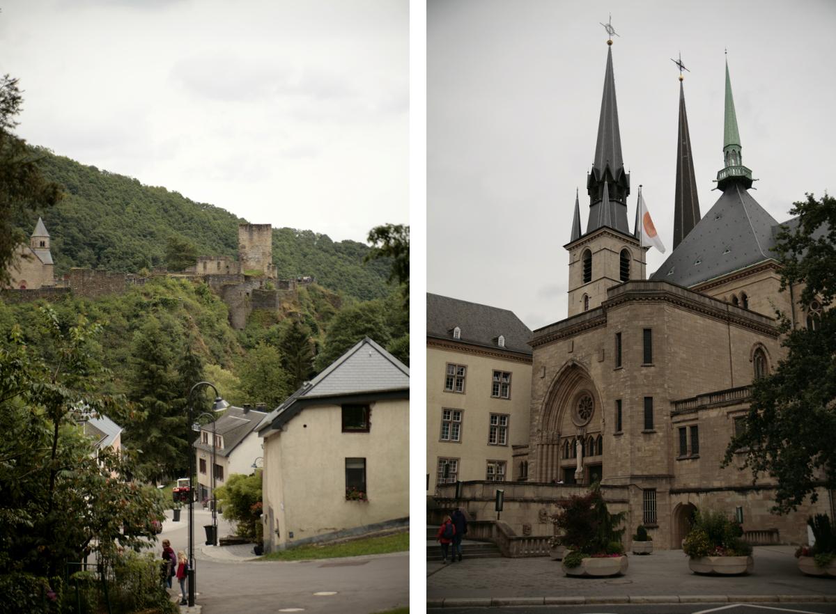 Widok na zamek w Esch sur Sure oraz katedra Notre Dame w Luksemburgu.