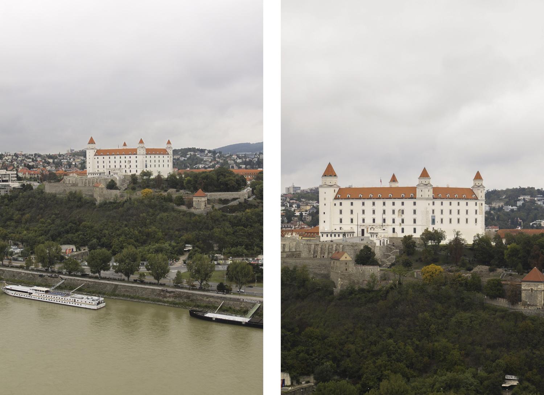Bratysława widok na miasto z mostu SNP UFO zamek